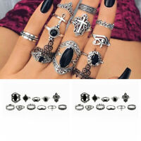 11pcs Silver Boho Stack Plain Above Knuckle Ring Midi Finger Rings Set Gift
