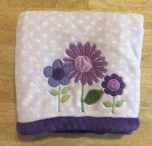 Carters Girls Baby Blanket Purple Plush White Polka Dots Flowers Kidsline Thick
