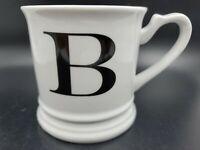 Williams Sonoma Initial Coffee Cup Mug Tea Cup Black Letter B White Shaving Cup