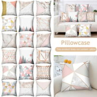 Pink Gold Grey Geometric Pillow Case Cover Marble Sofa Cushion Covers Home Decor