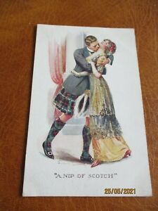 Vintage Glamour postcard, Inter Art Amour Series No.973, A Nip of Scotch