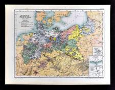 1902 Oxford History Map Prussia 1415-1890 Germany Berlin Hamburg Danzig Hesse