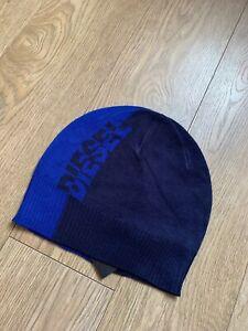 DIESEL Men's Beanie Cap Hat Frota Graphic Logo Knitted Blue Brand New Men's