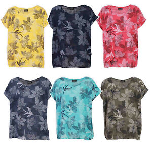 New Ladies Italian Cotton Floral Stencil Print Summer Top Plus Size UK 14-20