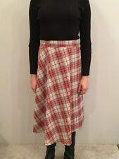 Vintage Plaid Wrap A-Line Skirt Adjustable Waist Cotton Red Tan 22 to 29 Waist S