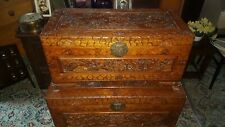 More details for antique style carved camphor wood oriental travelling chest blanket box