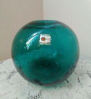 Vintage Blenko Crackle Glass Deep Green Handmade Globe Vase