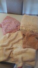 5 Copertine neonato culla lana fatte a mano.Baby Blanket