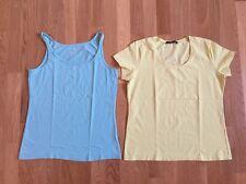Betty Barclay & Esmara T-Shirt Set 2x Gelb Hellblau Gr L Stretch Cotton Wie Neu