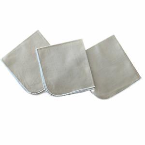 Set of 3 Vintage Handmade Linen Napkins Beige 12 x 11 Rolled Hem Round Corners