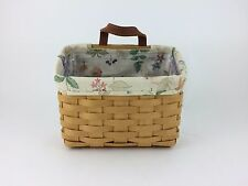 Longaberger Small Wall Pocket Basket w Hard Protector and Botanical Fields Liner