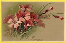 Très belle Carte MEISSNER & BUCH Signée KLEIN Oeillets Sauvage Wild Carnations