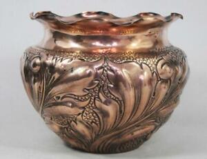 BEST ANTIQUE ART NOUVEAU COPPER JARDINIER PLANTER 1890 arts & crafts plant pot