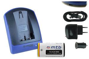 Akku+Ladegerät (USB) KLIC-8000 für Kodak Easyshare Z1012 IS, Z1015 IS, Z1085 IS