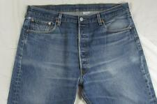 Levi 501 Button Fly Straight Leg Hige Faded Denim Jean Tag 40x30 Measure 38x27.5