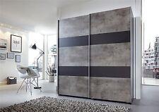 German Chess Concrete Grey & Black 2 Door 135cm Sliding Slider Door Wardrobe