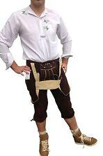 Unifarbene Herren-Freizeitshosen aus Leder mit mittlerer Bundhöhe