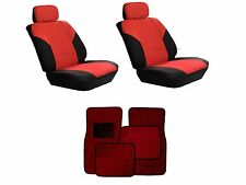 Red & Black Seat Covers W/ Burgundy Carpet floor Mats for Cars SUVS- 8Pc. Combo
