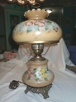GONE WITH THE WIND VINTAGE  MILK-GLASS FLORAL DISPLAY HURRICANE LAMP