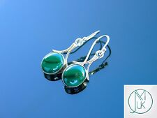Malachite Natural Gemstone 925 Sterling Silver Earrings Quartz Crystal Healing