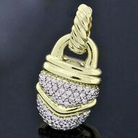David Yurman 18K Yellow Gold Pave Diamond Acorn Pendant Enhancer for Necklace