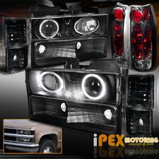 94-98 Chevy Tahoe Silverado 10PC Halo Projector Black Headlight+Smoke Tail Light