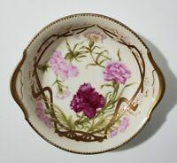 """T&V Limoges Bowl - Hand Painted Carnations and Signed - Tressemanes & Vogt 9.5"""""""