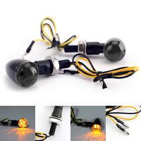 2x Universel Noir Mini Bullet Moto Clignotant Lumières Lampe Rauch Lentille AF
