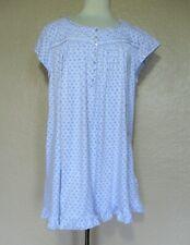 Eileen West Nightgown Size 2X Women light blue white cotton flannel
