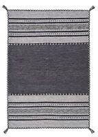 Kelim Ethnique Style tapis Gris Charbon en diverses tailles et housse coussin