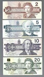 Canada ✨ $2 $5 $10 & $20 ✨ 4 banknotes ✨ Collections & Lots #5936