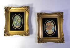 Vintage Lithograph Set Of 2 Miniature Gold Frame Prints Under Glass Made in USA