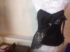 Next Embellished Black Basque/bustier Top Size 6 (EUR34) Detachable Straps BNWT