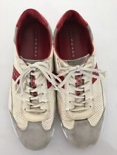 Prada Sneakers Men's White & Red Americas Cup 4E1941 11 Fashion Leather Sz 13 US
