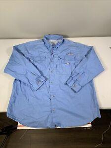 Men's Columbia PFG Long Sleeve Button Front Fishing Shirt Size XL Polyester Blue