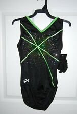Gk Elite Gymnastics Leotard -Child Small - Black/Lime