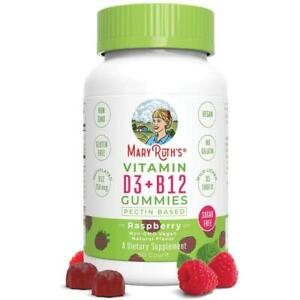 Mary Ruth's vitamin D3 + B12 gummies pectin based raspberry 60ct exp 2022