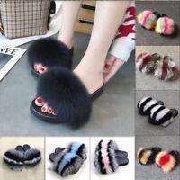Luxury Women Large Fluffy Real Fox/Raccoon Fur Sandal Shoes Flat Slides Slippers