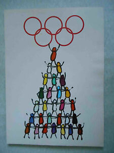 USSR 1980 MOSCOW Olympic Games. Unusual Vintage POSTER with Olympic Symbol