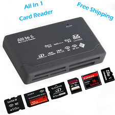 Noir Tout en 1 USB 2.0 Lecteur Carte Mémoire SD XD MMC MS CF TF Micro SD M2 SDHC