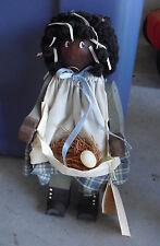 "1986 Mrs G's Kids Art Doll Wood Black Girl Character Doll 10 1/4"" Tall"