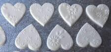 24 WHITE cupcake topper sugar paste edible HEART (3cm)