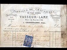 """GRANDVILLIERS (60) FABRIQUE de CHAUSSURES sur mesure """"VASSEUR & LAMY"""" en 1878"""