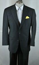 Murano Collezione Men's Black & Gray Striped All Season Wool Suit 44R 44 R