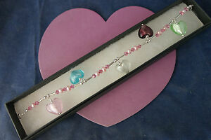 """Beautiful Anklet With Pearls And Murano Glass 10""""- Or 9"""".5 - Or 9"""" Inches Long"""