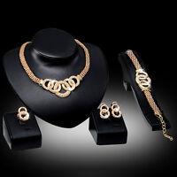 UK_ HK- Crystal Choker Necklace Earring Bracelet Chandelier Ring Jewelry Set Opt
