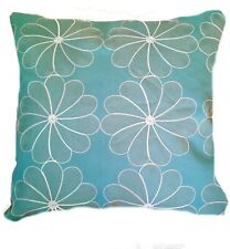 Aqua blue pale gold white  floral Cushion covers duck egg decor  40cm 16''  BN