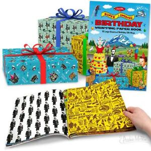 SUPER AWESOME BIRTHDAY WRAPPING PAPER BOOK Archie McPhee - CLOSEOUT