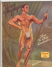 Vintage Bodybuilding YOUR PHYSIQUE  August 1946 Joseph Weider Cover/8-46
