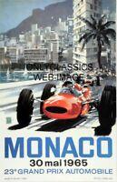VINTAGE AUTO RACING MONACO GRAND PRIX FORMULA ONE 12X18 POSTER INDY 500 RACE CAR